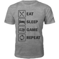 Eat Sleep Game Repeat Slogan T-Shirt - Grey - S - Grey
